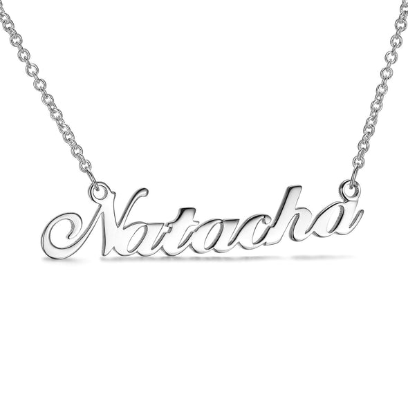 925 Sterling Silver Custom Natacha Name Necklace Nameplate Necklace - onlyone