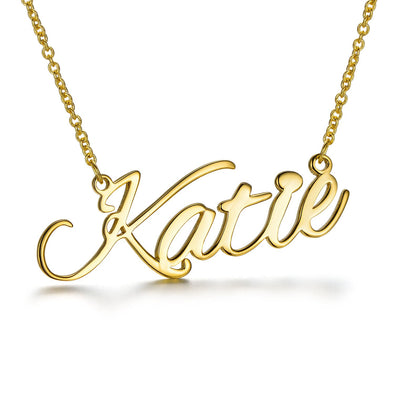 925 Sterling Silver Custom Katie Name Necklace Nameplate Necklace - onlyone
