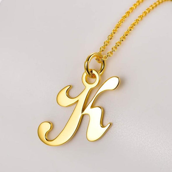 925 Sterling Silver Initial Letter Necklace - onlyone