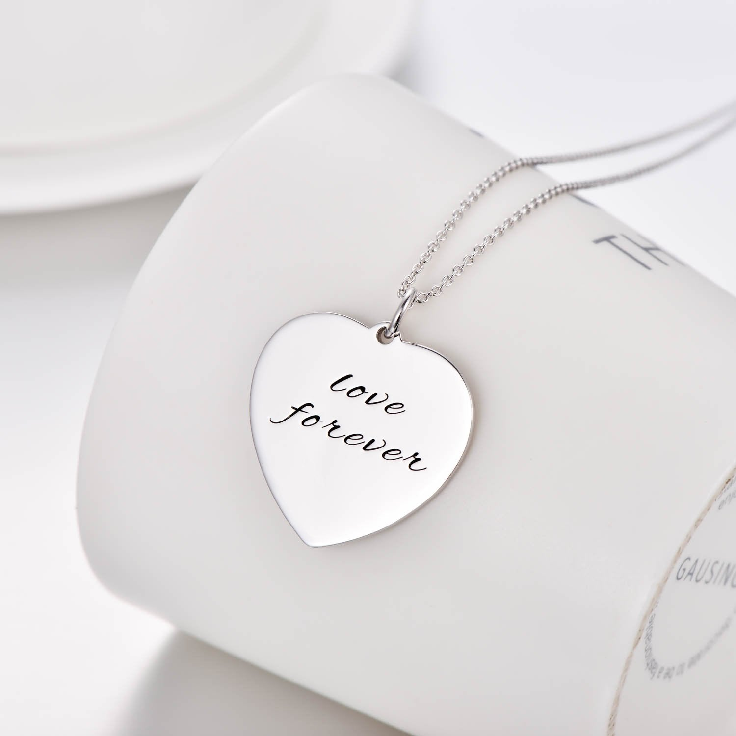 925 Sterling Silver Engraved Heart Name Necklace Inspirational Gift Nameplate Necklace - onlyone