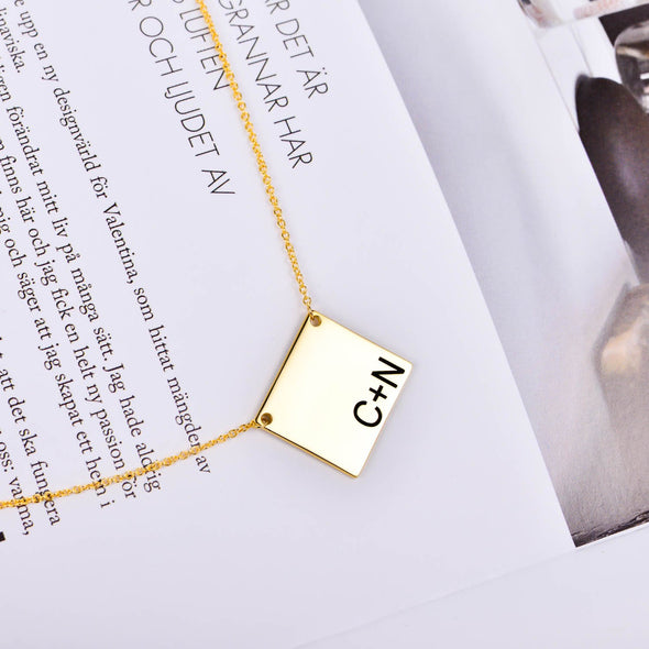 925 Sterling Silver Initial Bar Engraved Square Pendant Necklace - onlyone
