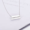 925 Sterling Silver Engraved Short Bar Name Necklace Cut Out Nameplate Necklace - onlyone