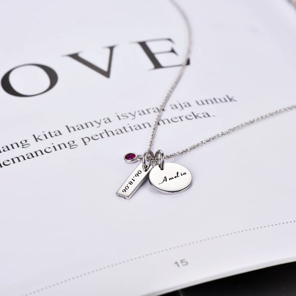 925 Sterling Silver Birthstone Engraved Coin Name Necklace Nameplate Necklace, Back To School Gift Necklace - onlyone