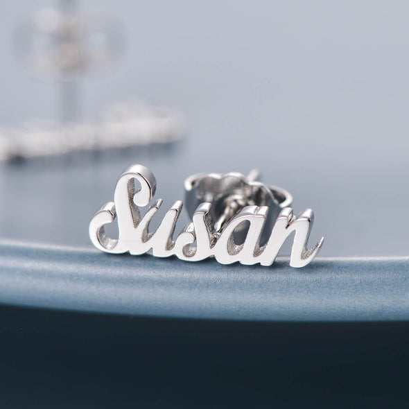 925 Sterling Silver Personalized Initial Name Earrings Nameplate Earrings - onlyone