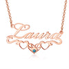 925 Sterling Silver Name Necklace With Underline Hearts Nameplate Necklace With Birthstone, Birthday Gift - onlyone