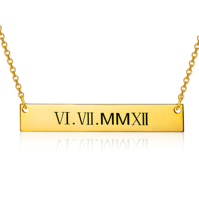 925 Sterling Silver Special Date Roman Numerals Engraved Bar Necklace - onlyone