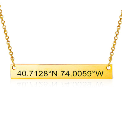 925 Sterling Silver Coordinates Engraved Bar Necklace, Custom Latitude and Longitude Necklace - onlyone