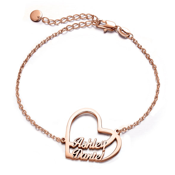 925 Sterling Silver Custom Two Names Heart Bracelet - onlyone