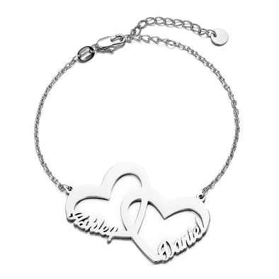 925 Sterling Silver Personalized Interlocked In Love Name Bracelet Heart Nameplate Bracelet - onlyone