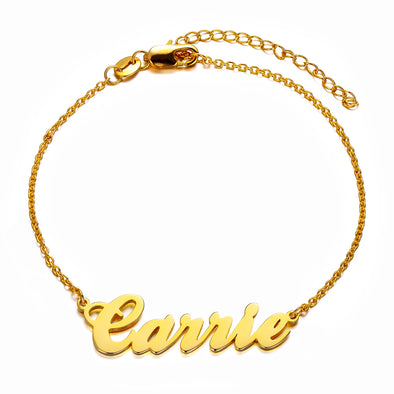 925 Sterling Silver Personalized Carrie Name Bracelet - onlyone