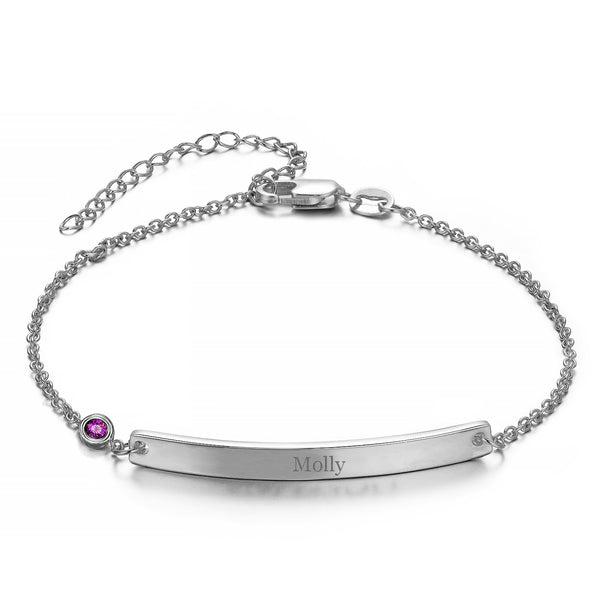 "Personalized Loving You Bar Engraved Bracelet 6""-7.5"""