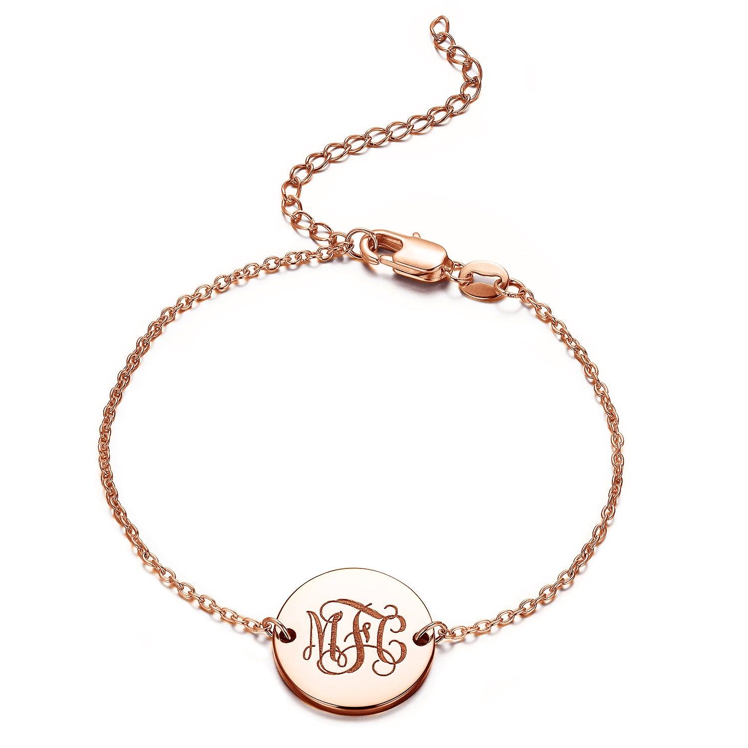 925 Sterling Silver Personalized Engraved Monogram Disc Bracelet - onlyone