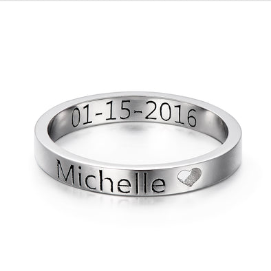 925 Sterling Silver Personalized Cut Out Heart Name Ring Nameplate Ring - onlyone