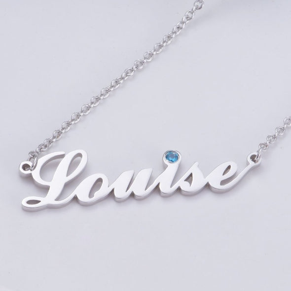 "925 Sterling Silver Birthstone Signature Name Necklace ""Louise style"" Nameplate Necklace - onlyone"