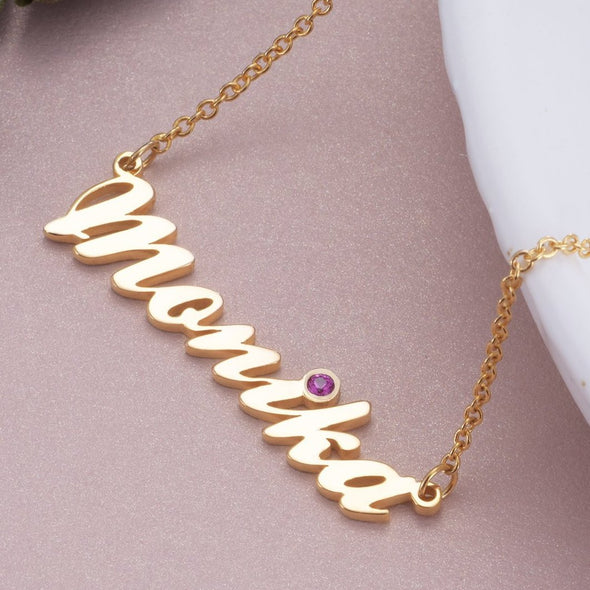 925 Sterling Silver Birthstone Classic Name Necklace Nameplate Necklace - onlyone