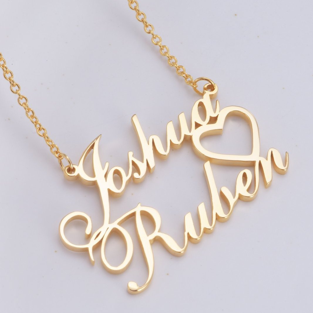 925 Sterling Silver Joshua Double Names Necklace Nameplate Necklace - onlyone