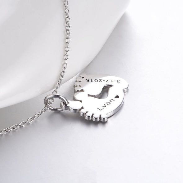 925 Sterling Silver Engraved Baby Feet Double Name Necklace Nameplate Necklace, Gift For Mom - onlyone