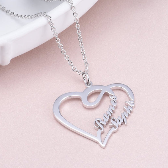 925 Sterling Silver Double Names Heart Name Necklace Nameplate Necklace - onlyone