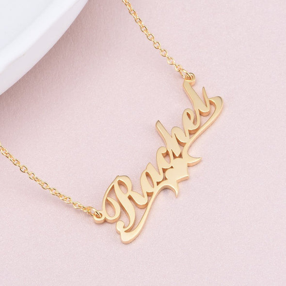 925 Sterling Silver Rachel Style Heart Name Necklace Nameplate Necklace - onlyone