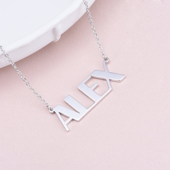 "925 Sterling Silver Capital ""ALEX"" Letters Name Necklace Nameplate Necklace - onlyone"