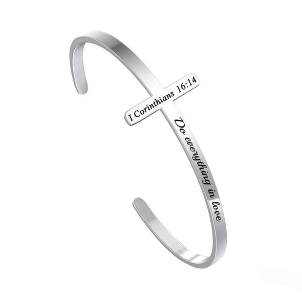 925 Sterling Silver Personalized Cross Bracelet Christian Gifts for Women