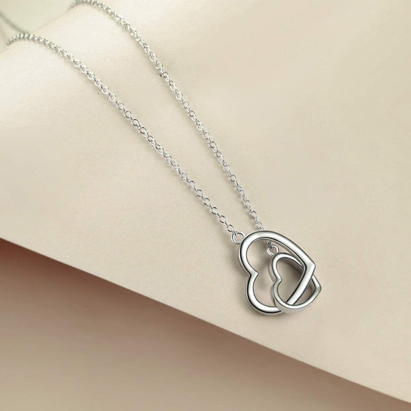 925 Sterling Silver Interlocked Double Hearts Necklace