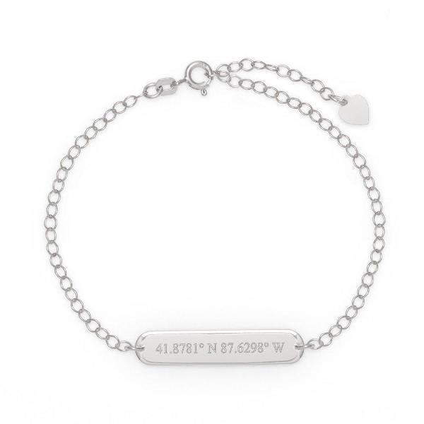 "925 Sterling Silver Personalized Coordinate Oval Name Bar Bracelet 6""-7.5"" Nameplate Bracelet - onlyone"