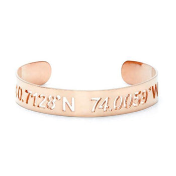 "Personalized Coordinate Cut Out Cuff 6""7.5""-Personalized Cuffs-YAFEINI-Rose Gold Plated-yafeini-personalized-custom-jewelry"