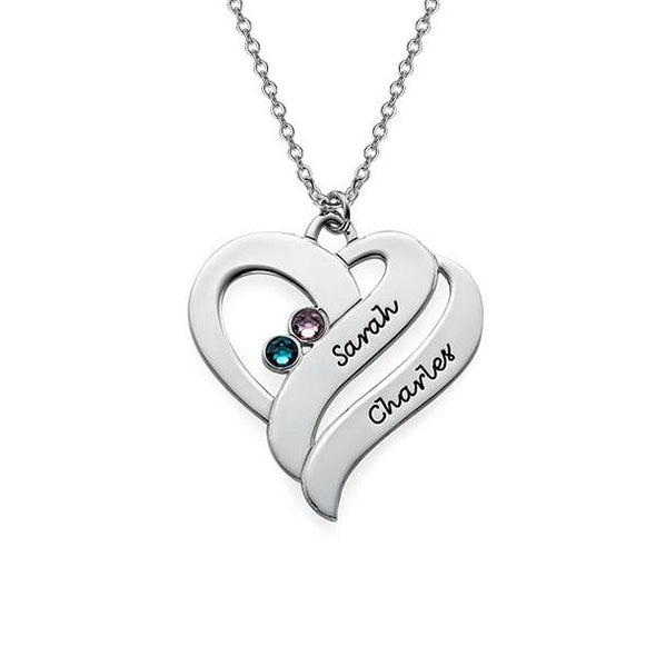 925 Sterling Silver Birthstone Two Hearts Engraved Name Necklace Nameplate Necklace - onlyone