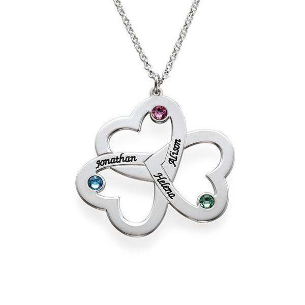 925 Sterling Silver Triple Heart Engraved Name Necklace Gift Nameplate Necklace With Birthstone - onlyone
