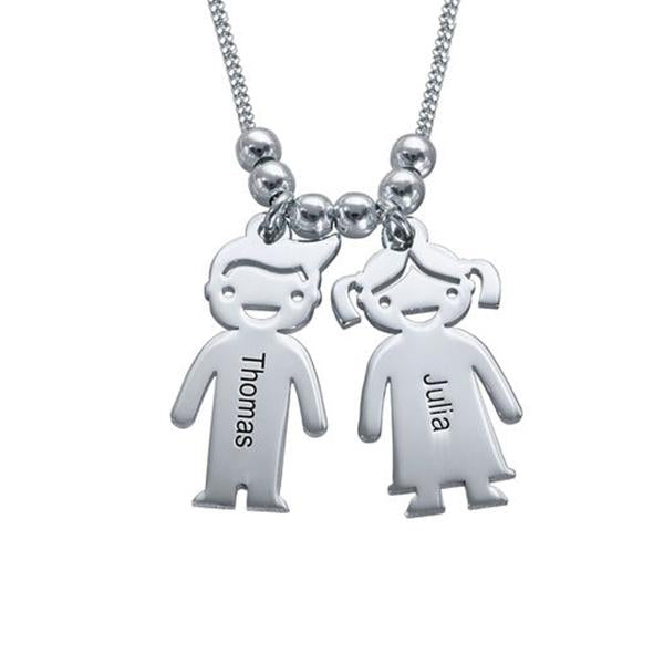 Mother With Children Engraved Name Necklace-Engraved Necklaces-YAFEINI-Silver-yafeini-personalized-custom-jewelry