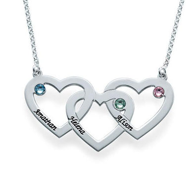 925 Sterling Silver Birthstone Engraved 3 Hearts Name Necklace, Birthday Gift, Gift For Her - onlyone
