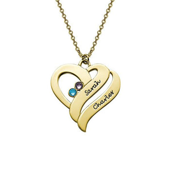 Birthstone Two Hearts Engraved Name Necklace-Engraved Necklaces-YAFEINI-Gold Plated-yafeini-personalized-custom-jewelry