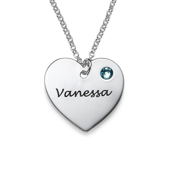 925 Sterling Silver Heart Engraved Name Necklace Nameplate Necklace With Birthstone - onlyone