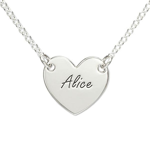925 Sterling Silver Engraved Heart Name Necklace Nameplate Necklace - onlyone