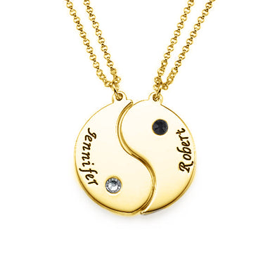 925 Sterling Silver Yin Yang Name Necklace Set Couple Tai Chi Necklace With Birthstone - onlyone