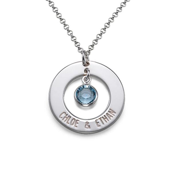 925 Sterling Silver Birthstone Engraved Circle Name Necklace Nameplate Necklace - onlyone