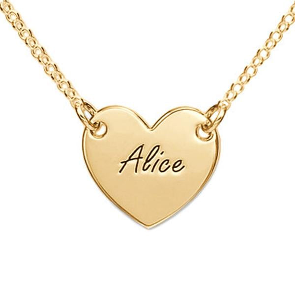 Engraved Heart Name Necklace-Engraved Necklaces-YAFEINI-Gold Plated-yafeini-personalized-custom-jewelry
