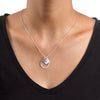 925 Sterling Silver Horseshoe Stirrup Coin Engraved Initial Necklace - onlyone