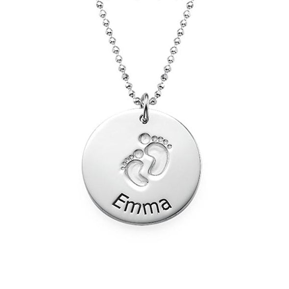 925 Sterling Silver Footprints Engraved Coin Name Necklace Nameplate Necklace - onlyone