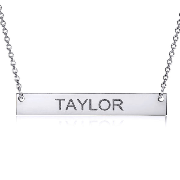 925 Sterling Silver Engraved Bar Name Necklace Nameplate Necklace - onlyone