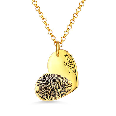 925 Sterling Silver Personalized Engraved Fingerprint Thumbprint Heart Name Necklace Nameplate Necklace - onlyone