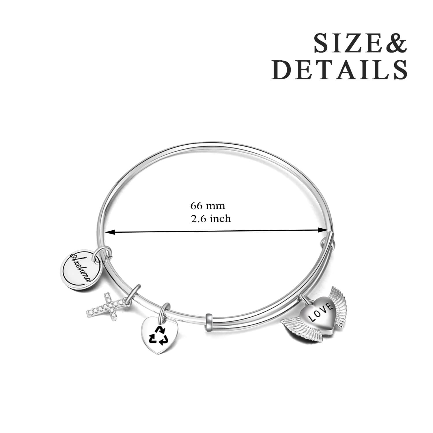 Personalized 925 Sterling Silver Cross And Heart Expandable Bangles Inspirational Gift - onlyone