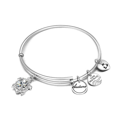 Personalized 925 Sterling Silver Expandable Love Sea Turtle Bracelets - onlyone
