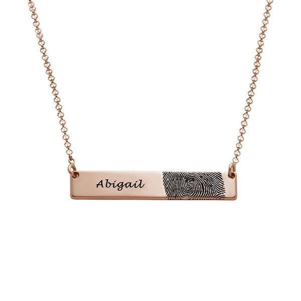 925 Sterling Silver Personalized Engraved Fingerprint Thumbprint Bar Name Necklace Nameplate Necklace - onlyone
