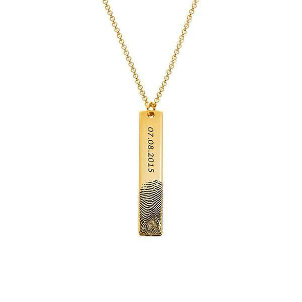 925 Sterling Silver Personalized Engraved Fingerprint Thumbprint Vertical Bar Name Necklace Nameplate Necklace - onlyone