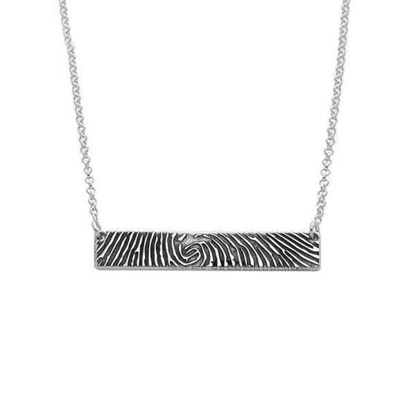 925 Sterling Silver Personalized Fingerprint Thumbprint Engraved Bar Name Necklace Nameplate Necklace - onlyone