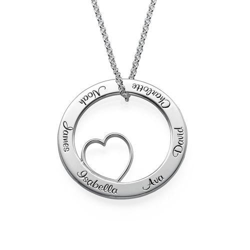 925 Sterling Silver Engraved Circle Heart Name Necklace Nameplate Necklace - onlyone