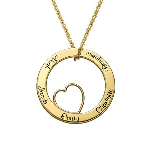 Engraved Circle Heart Name Necklace-Engraved Necklaces-YAFEINI-Gold Plated-yafeini-personalized-custom-jewelry