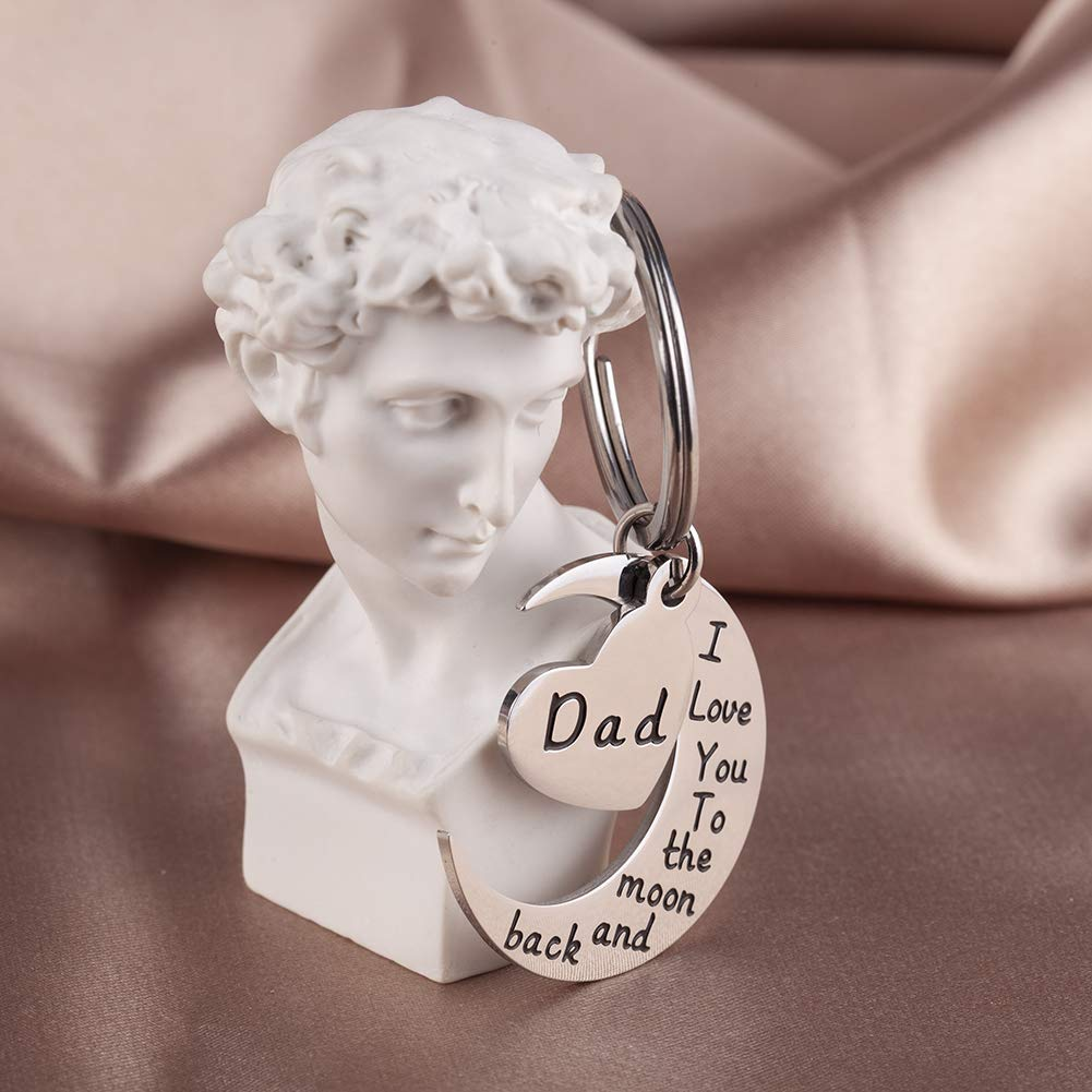 Stainless Steel Keyring For Men I Love You to The Moon to Back Dad Keyring Pendant From Son Daughter for Dad Fathers Day Gifts - onlyone